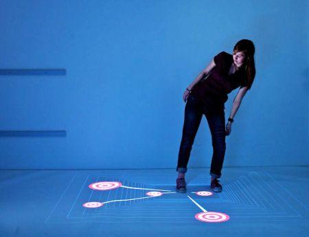 能在地上操做的多触点显示器