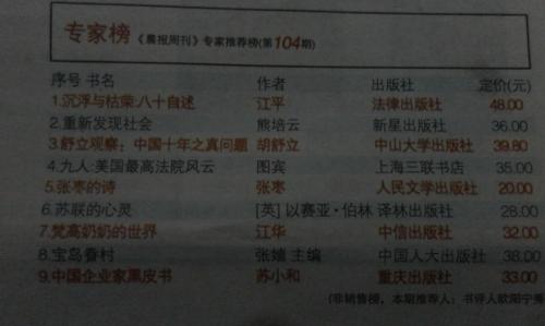 潇湘晨报好书榜之专家推荐榜