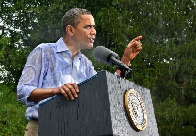 奥巴马冒大雨讲话透视中美差别