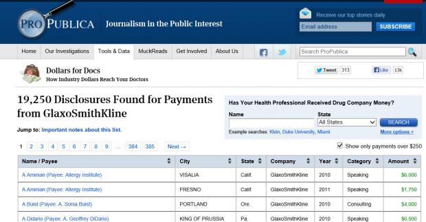 美国医生灰色收入数据库:葛兰素史克不是一个标本