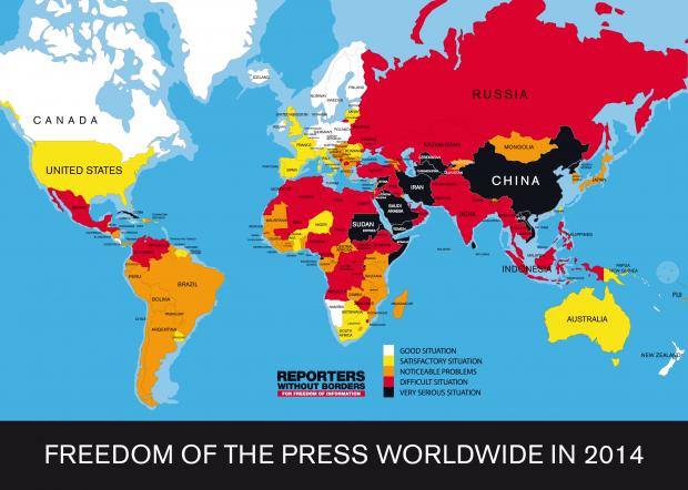 论新闻自由度 中国能比谁强点?