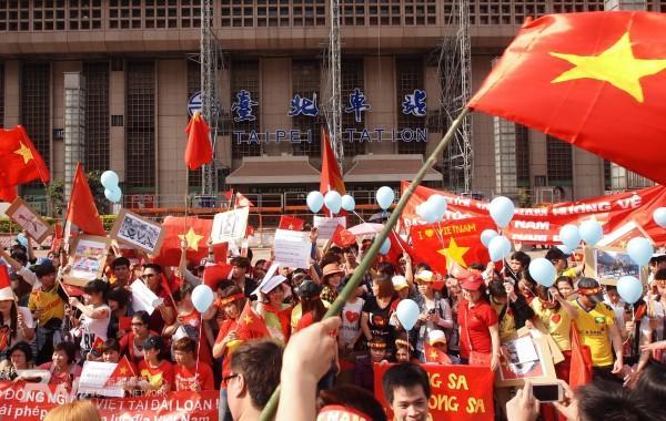 """在台北找不著""""中國大使館""""的越南示威者"""
