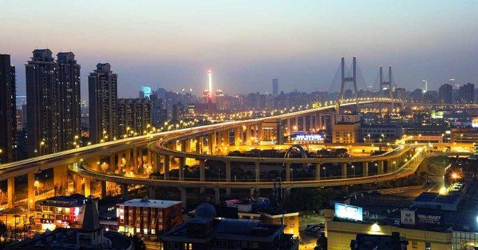 上海高架南浦大桥夜色