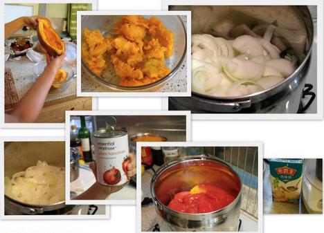 快手美食——南瓜番茄洋葱鸡汤