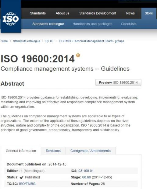《ISO19600合规管理体系导则》是怎样制定出来的?