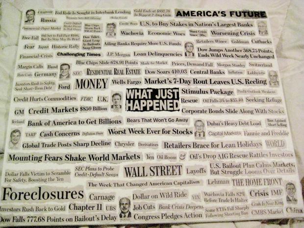 美国金融危机期间的媒体头条标题