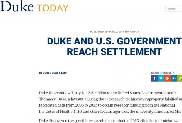为学术造假买单,杜克大学遭受上亿美元的天价罚款