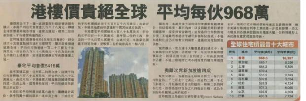 全球购房压力最大城市不是香港?