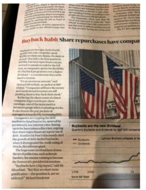 美国公司回购股票吓人