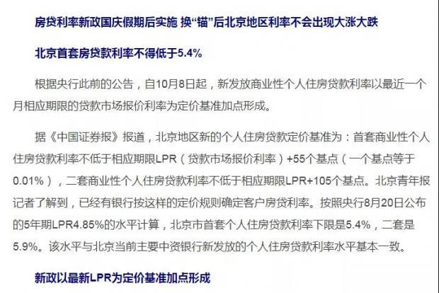 10月8日北京首套房贷利率5.4真相与降息