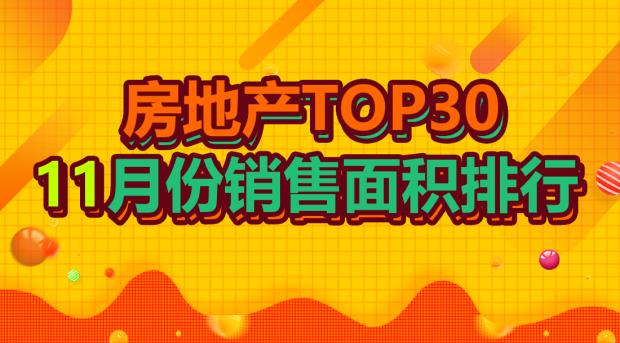 TOP30上市房企11月销售面积排行:碧桂园重回榜首,富力龙湖跌出前十