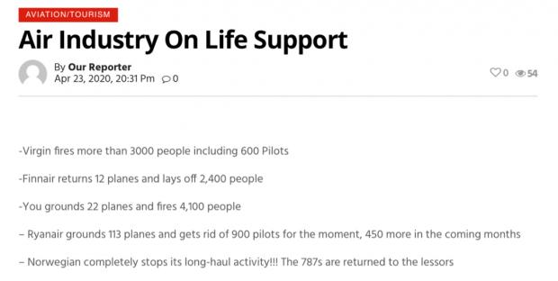 大Xiao条来临:全球将有超过9万名飞行员失业
