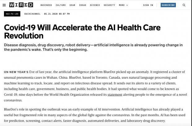 李开复:新冠大流行将加速医疗AI革新