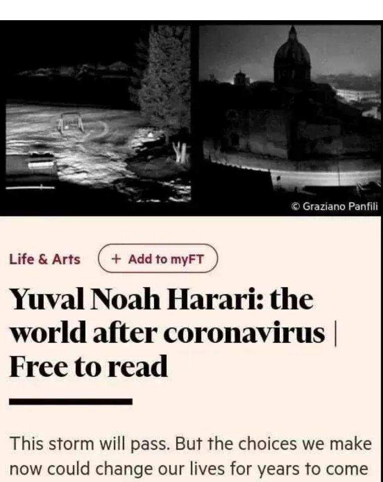 《人类简史》作者:冠状病毒之后的世界