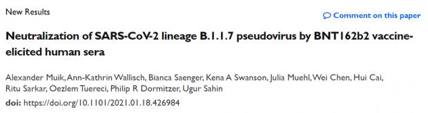 针对新冠变异病毒,辉瑞/BioNTech公布最新研究结果