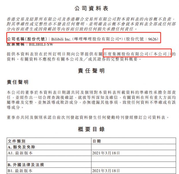 """哔哩哔哩港股上市首日破发背后:招股书""""抄作业""""闹乌龙"""