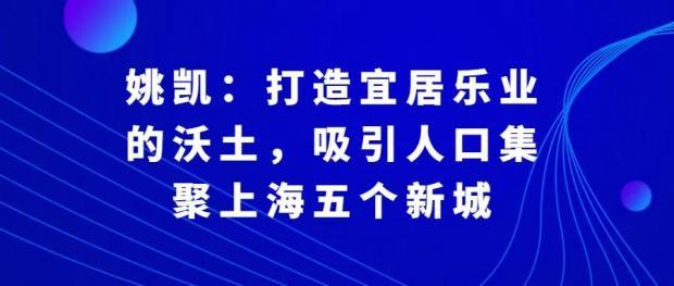 姚凯:打造宜居乐业的沃土,吸引人口集聚上海五个新城