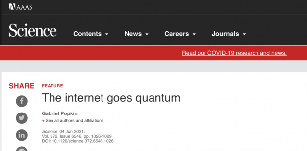 Science:迈向量子互联网