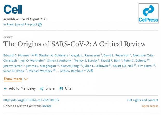Cell发表新冠溯源综述:近百篇论文支持新冠疫情源自跨物种传播
